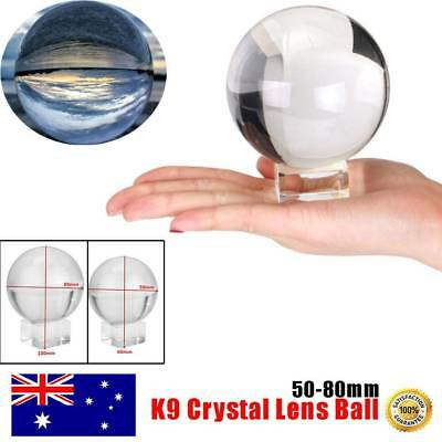 Clear Crystal Ball K9 50-80mm Photography Lens Sphere Ball Decor With Holder