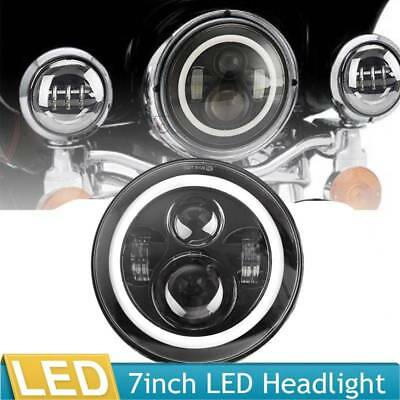 """1x7"""" LED For Harley Street Glide Softail FLHX Projector Daymaker Black Headlight"""