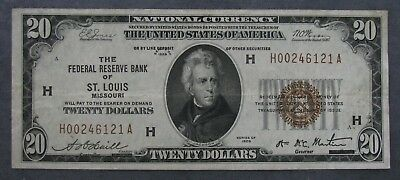 1929 Federal Reserve Bank ST LOUIS $20 National Currency Note  Light Circulation