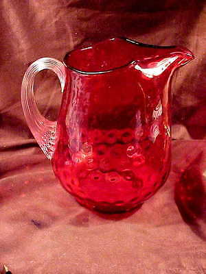 Fenton Polka Dot In Ruby Overlay, 2 Qt Pitcher, 1956-57,  Shape 2467-Ro, Mint