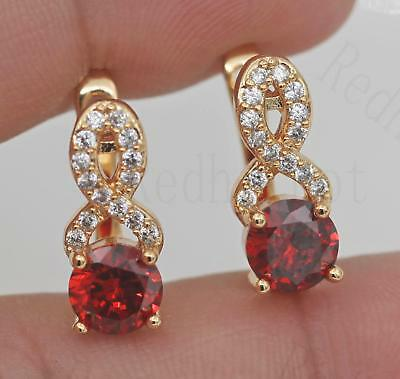 18K Gold Filled - Hollow Geometry Swirl Ruby Topaz Zircon Pageant Women Earrings