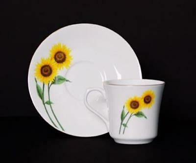 Euland China DSFL2-003SCS 8-Piece Cup And Saucer Set - Sunflower