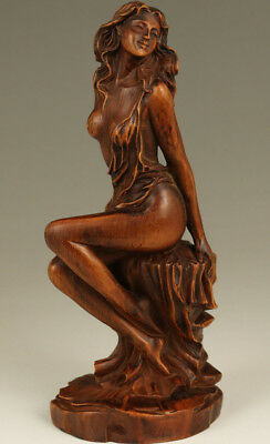 chinese old boxwood hand carving sex girl dance statue figure ornament