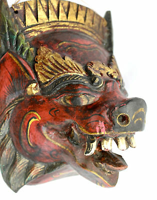 Vintage Balinese Mask Barong Pig Boar openg Hand Carved Wood  Bali Wall Art red