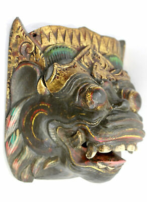 Vintage Balinese Mask Barong Raksasa Demon Topeng Hand carved wood Bali art