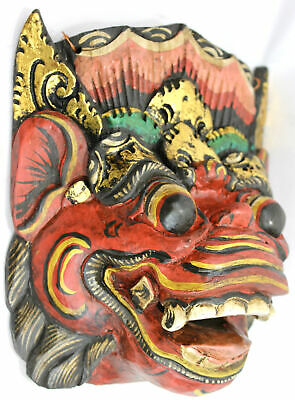 Vintage Balinese Mask Barong Sai Demon Topeng Hand Carved wood Bali folk art