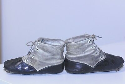 "Antique 2 tone leather tie Victorian Baby Toddler Shoes 4 1/4"" long delightful"