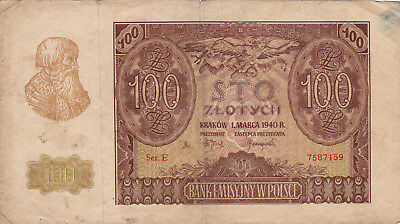 100 Zlotych Fine Banknote From German Occupied Poland 1940!!pick-97