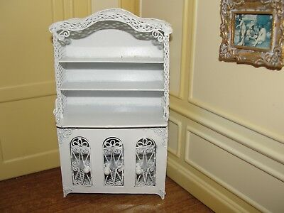 Dollhouse Miniature Fancy White Wire Hutch