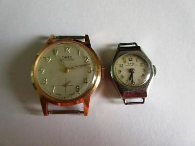 LOT of 2 VINTAGE ORIS HAND WIND WRISTWATCHES - BOTH WORKING!