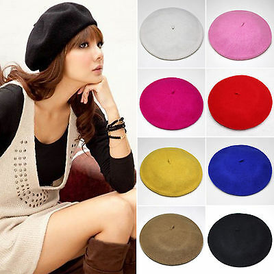 French Style Vintage Warm Plain Beanie Beret Hat Womens Artist Winter Wool Cap