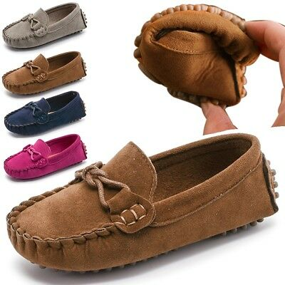 3d8ceb84355 Kids Boys Girls Soft Loafers Oxford Flats Casual Shoes Toddler Slip On  Moccasins
