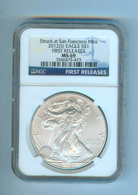 2012(S) One Dollar American Silver Eagle First Releases Ngc-Ms 69