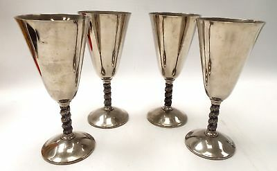 4 X Vintage 'Roma S.L.' Madrid, Spain SILVER PLATED GOBLETS - H25