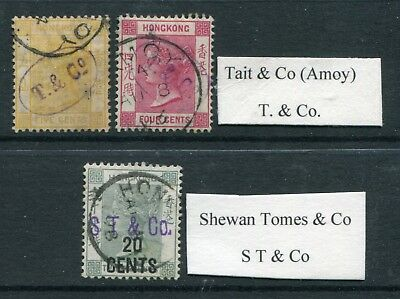 Old China Hong Kong QV  Selection of  3 x stamps with Company Chops!! Used (2)