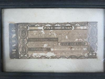 1820's Eastport, ME- Passamaquoddy Bank $5 Bill Currency