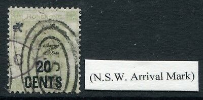 Old China Hong Kong GB QV 20c on 30c stamp Fine Used with N.S.W. Arrival Pmk