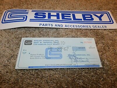 1967 Shelby American Original Check To Paxton Supercharger Paxton Products Rare