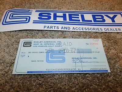 1967 Shelby American Check To Dante Cardone For $111.42 Dated Feb 8 1967 Rare