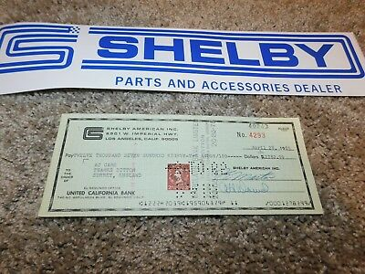 1965 Shelby American Original Check To Ac Cars In Surrey England $2782.99 Rare