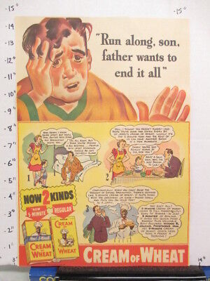newspaper ad 1940s CREAM OF WHEAT cereal box father son comic American Weekly