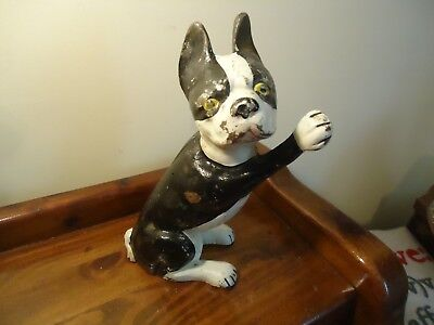 Rare  Sitting or Leaning type Cast Iron Boston Terrier Doorstop,  nice, LOOK!!!