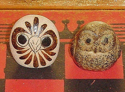 MINI OWL FIGURINES Lot/2 Folk Art Pottery Tonala,Stoneware FALL,HALLOWEEN DECOR