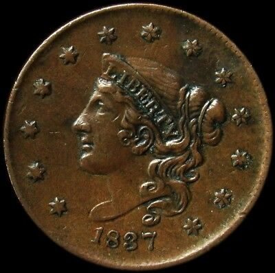 1837 Coronet Head Large Cent - XF - 1c Copper - Extremely Fine