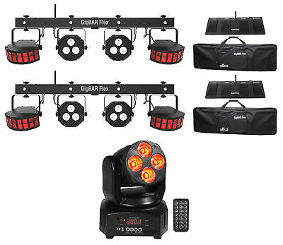 2) Chauvet DJ GigBAR Flex Lights 2) Derby+2) Par Lights+Footswitch+Moving Head