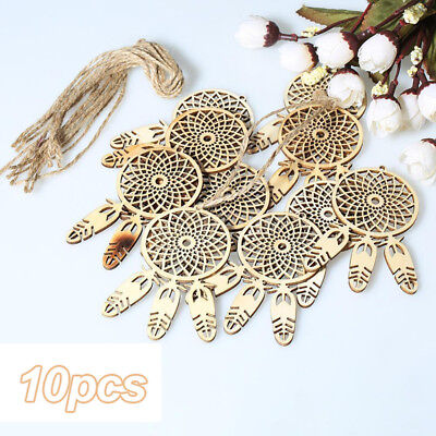 10Pcs Wood Laser Cut Dream Catcher Feather Shape Ornament Wall Hanging Decor DIY