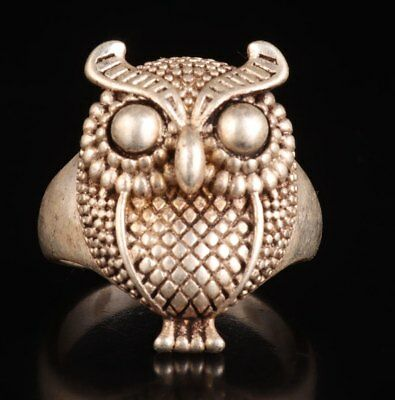Tibetan Silver Hand-Carved Owl Animal Statue Old Unique Ring Gift Collection