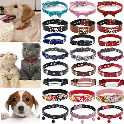 Adjustable Small Pet Dog PU Leather Collar Puppy Cat Buckle Neck Strap 22 Styles