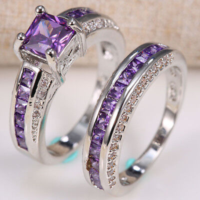 Natural 2.5ct Amethyst 925 Silver Women Wedding Engagement Ring Set 2pc Size6-10