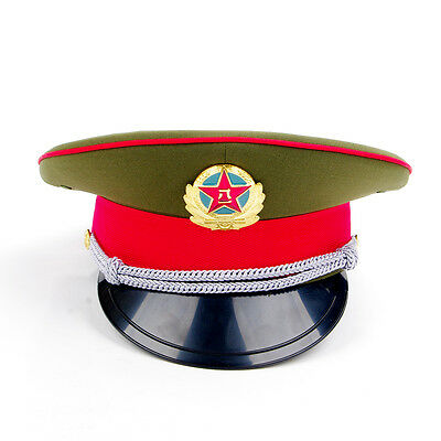 Collect Military officer Captain's Visor Hat Chinese Army Cap&badge 59cm New