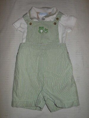 Janie And Jack Green Striped Shortall Outfit Baby Boys Size Size 6-12 Months