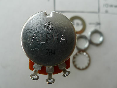 1 pcs Alpha Full Size 24mm A-500k 9.5mm 3/8'' Copper Rotary Potentiometer