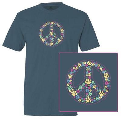 Teddy the Dog T Shirt Paws For Peace Unisex Classic Tee Midnight Blue Pawprints