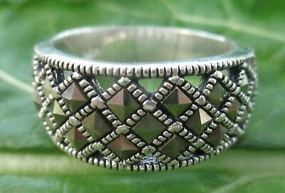 """925 STERLING SILVER Marcasite """"Square"""" Ring size K to Q 1/2 Girl Women"""