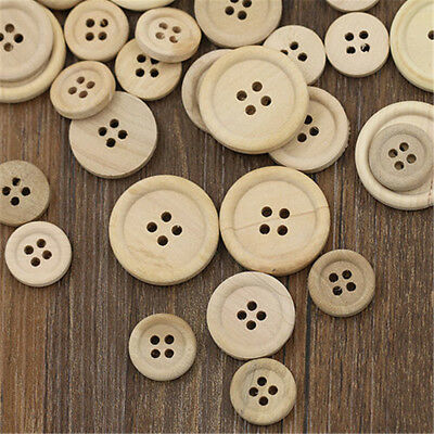 50Pcs Mixed Wooden DIY Buttons Natural Color Round 4-Holes Sewing Scrapbooking