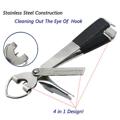 Quick Knot Tool 4 in 1 Fly Fishing Clippers Line Nipper Tying + Zinger Retractor