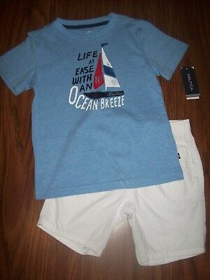Toddler Boys NAUTICA 2-Pc Shirt Shorts Outfit  Sz 4T New NWT MSRP $55 Blue/White