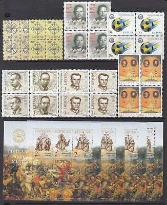 LITHUANIA 2004 issues in block of 4 plus 4 x miniature sheets, Mint Never Hinged