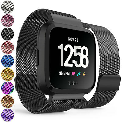 Metal FitBit Versa Straps Replacement Wristband, Milanese Bracelet Wrist Band