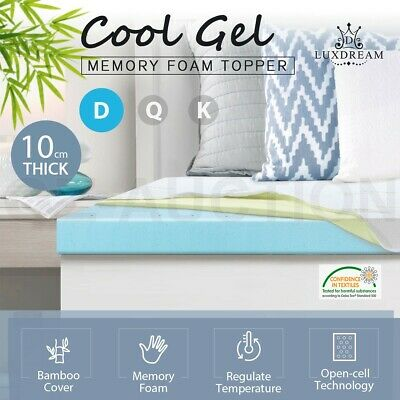 New 10cm Double Size Cool Gel Memory Foam Mattress Topper Bedding Protector Home