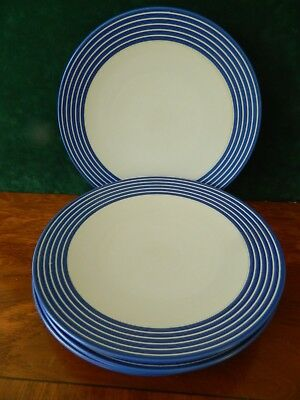 4 Denby 'intro' Blue Stripped Dinner Plates