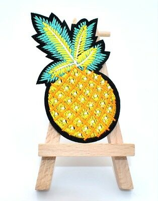 Ecusson ANANAS, patch brodé thermocollant, 9,5 cm, DIY, pineapple embroidery