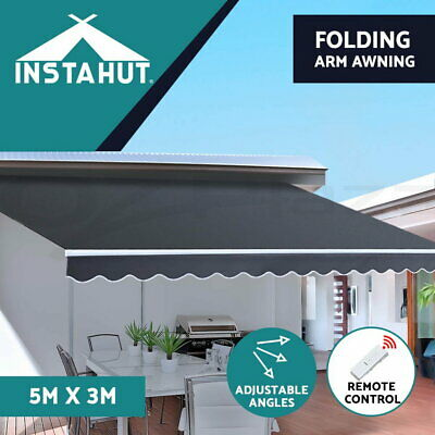 Instahut Motorised Folding Arm Awning Remote Retractable Outdoor Sunshade 5X3M