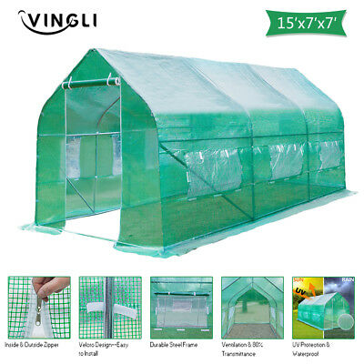 15'x7'x7' Green Round Greenhouse Tent Outdoot Plant Vegetable Cold Frames New