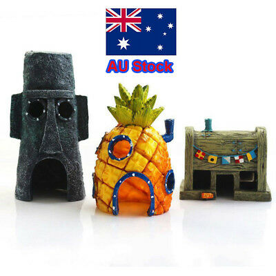 AU 3 pcs Sponge Bob Pineapple House Hole Fish Tank Decoration Aquarium Ornaments