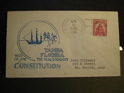 """USS CONSTITUTION """"OLD IRONSIDES"""" Naval Cover 1932 TAMPA, FLORIDA Cachet"""